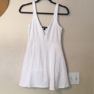 White V-neck Express Mini Dress